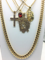 14K Gold Plated 5 Chain Set: Iced Out Flat Face Jesus Ruby Iced Out Cross And Polish Jesus
