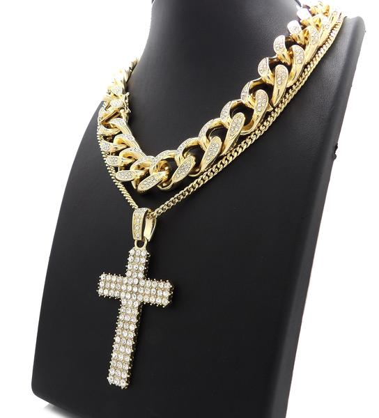 14K Gold Plated Flooded Cross On Miami Cuban