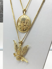 14K Gold Plated FreeBandz 2 Chain Set Iced Out Bird And Circle Bird