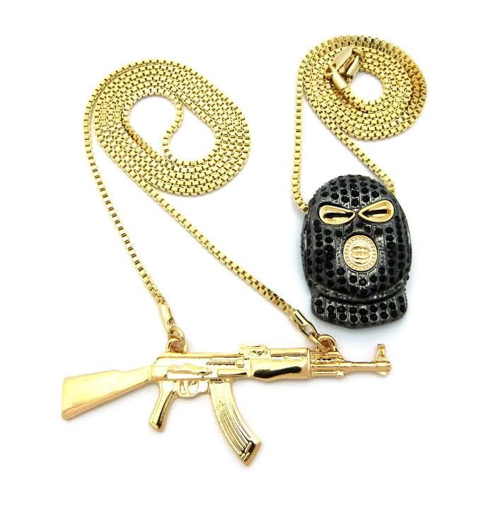 2 Chain Set: Goon Face And Ak47 24 and 30 Inch Box Chain