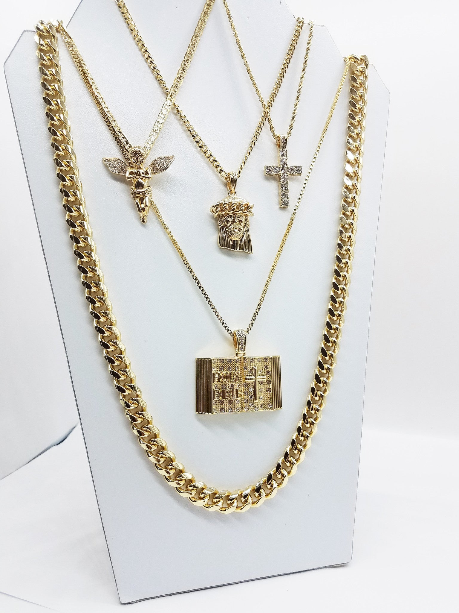 14K Gold Plated 5 Chain Holy Bible Icey Cross Cuban Crown Jesus Icey Angel And Miami Cuban