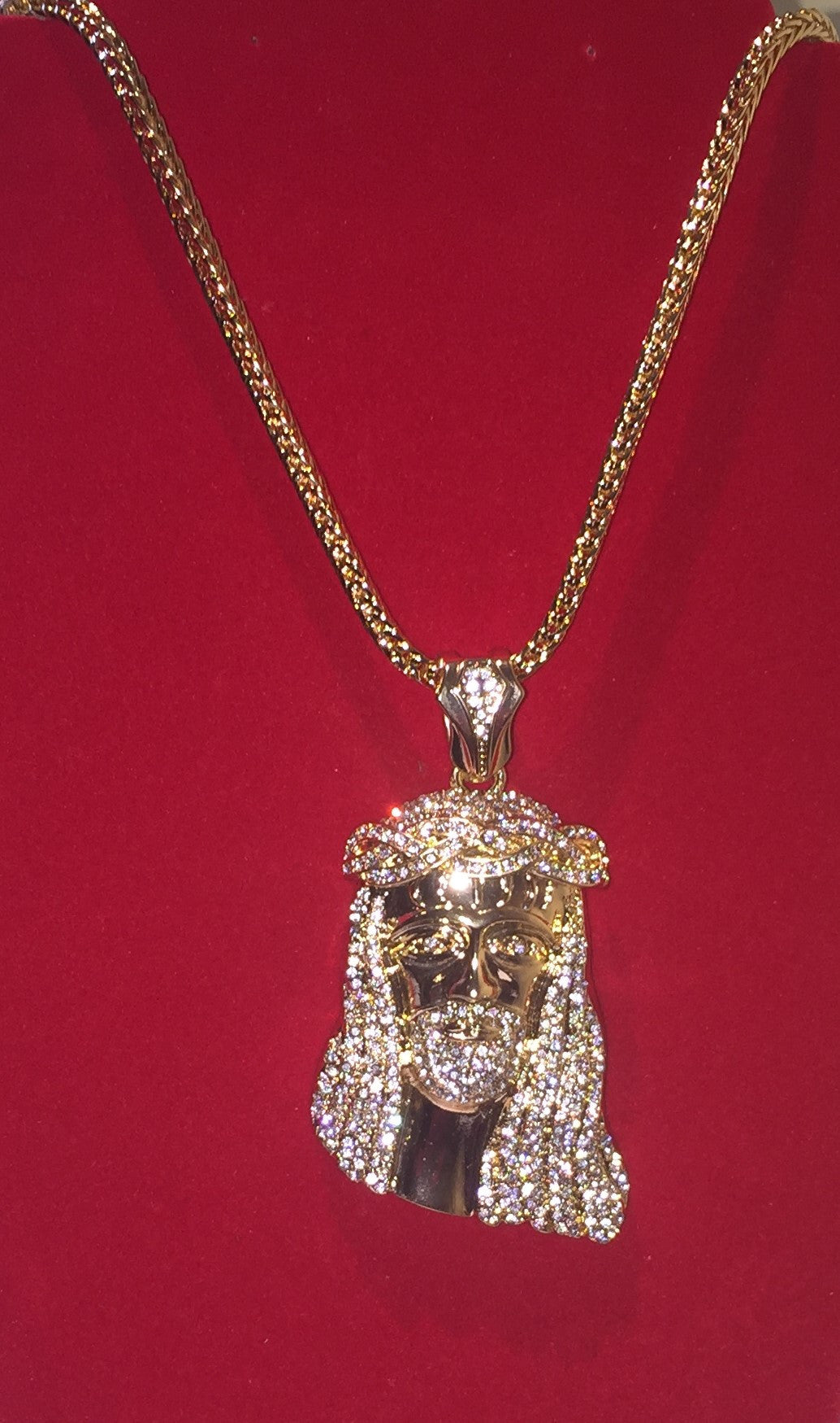 Exclusive 18k Gold Plated Braided Crown Jesus Piece On 32inch Franco Chain