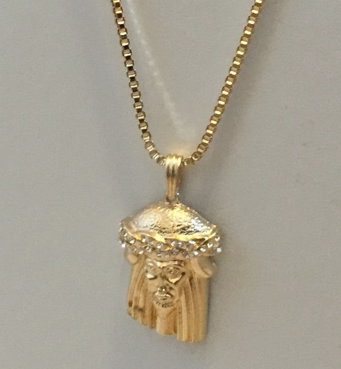 Exclusive: 14k Gold Plated Rasta Jesus Piece On 30inch Box Chain
