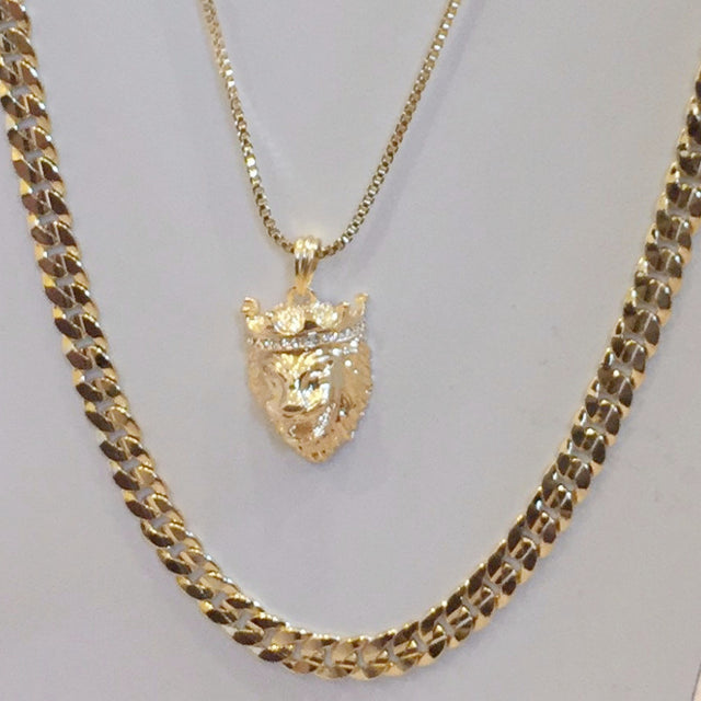 2 Chain Set Cuban Link Chain And King Leo Lion Piece On 30inch Box Chain