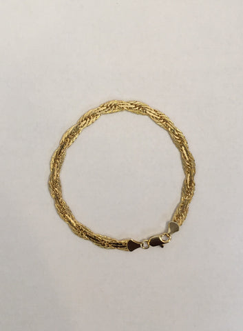 14k Gold Plated Twisted Herring Bone Bracelet