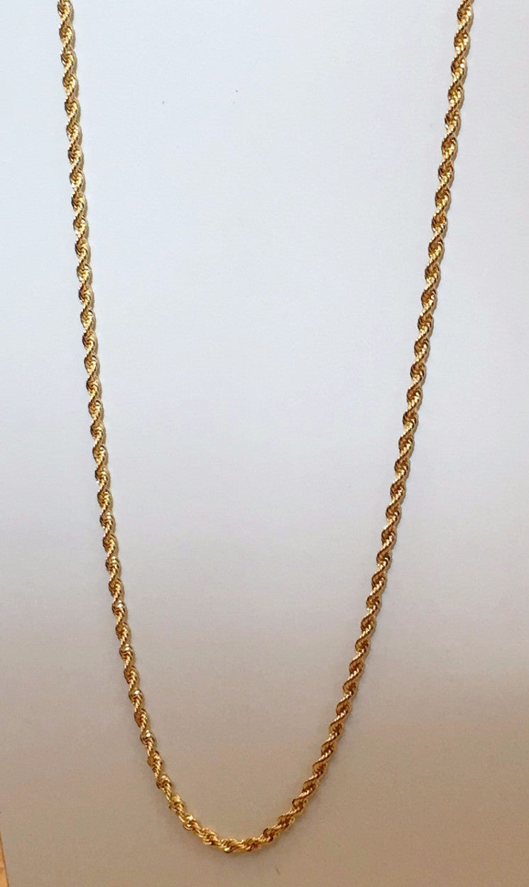 14K Gold Plated Skinny Rope Chain 24inch