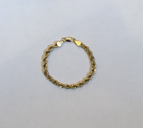 14K Gold Plated Rope Bracelet