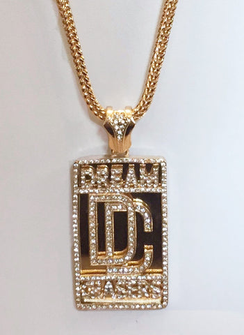 14K Gold Plated Dream Chaser Pendant On 34inch Franco Chain