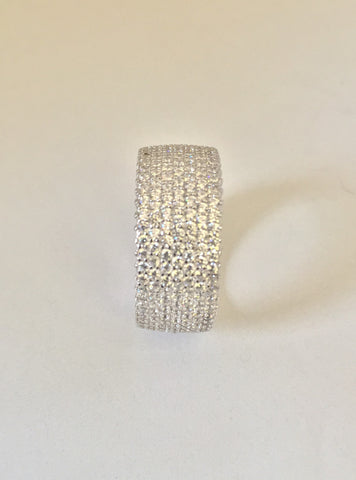 Completely Iced Out Silver Glacier Ring
