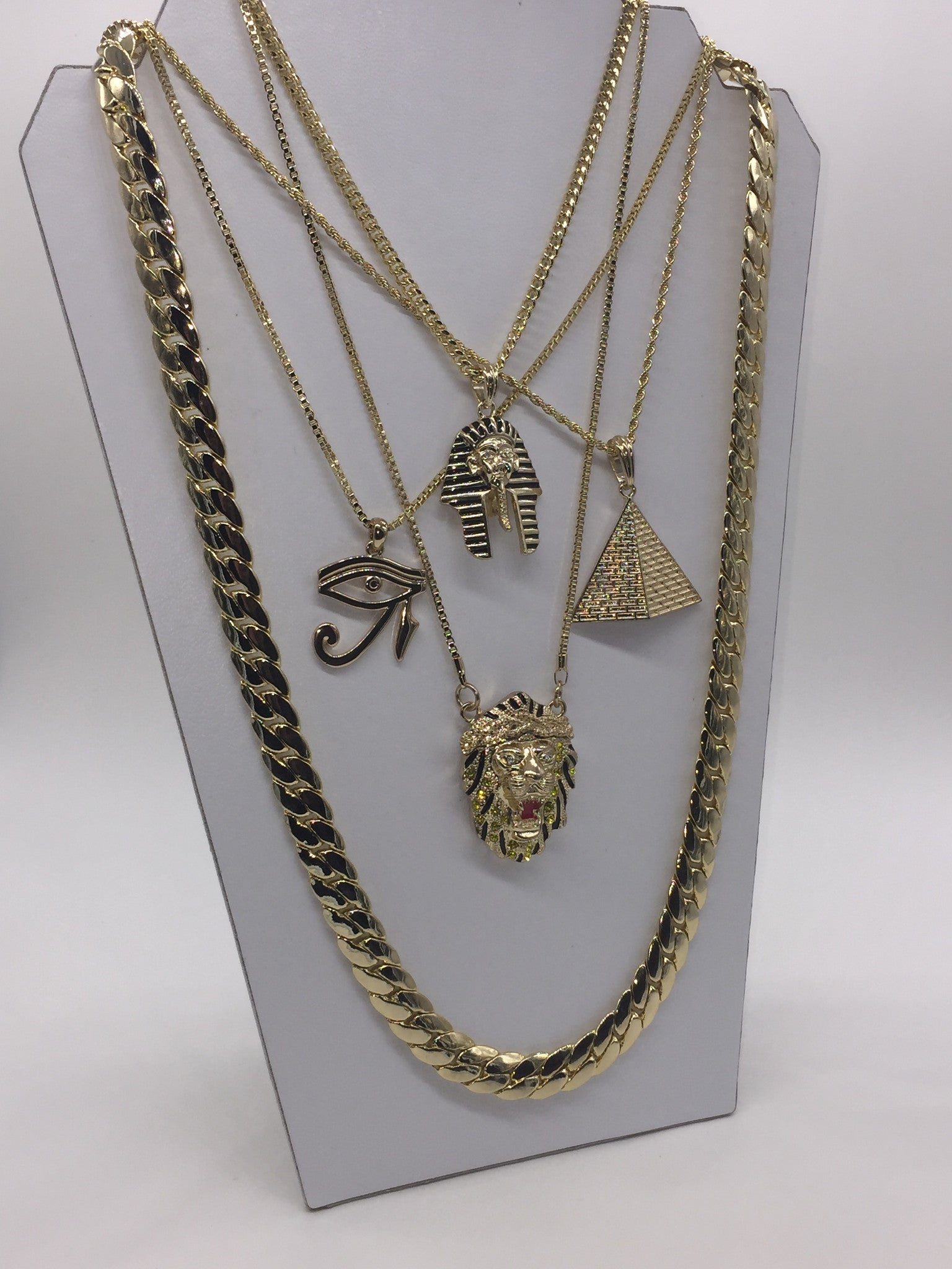 18k Gold Plated 5 Chain Set Pharoh, Pyramid, Eye of Horus, and King Lion