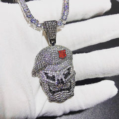 14k Iced Out Commando Skull Necklace