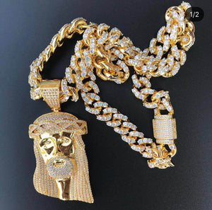 18K Gold Plated Jesus Piece On Iced Out Cuban High Quality