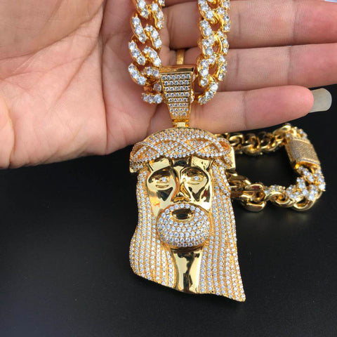 18K Gold Plated Jesus Piece On Icey Cuban High Quality