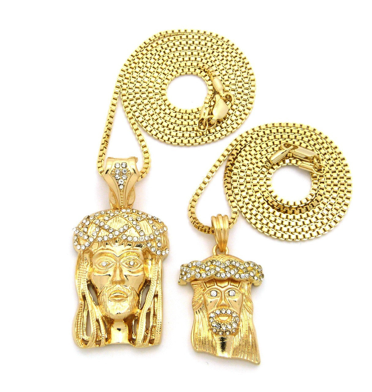 2 Chain Set: Iced Out Head Jesus And Regular Iced Out Jesus On 24 And 30 Inch Box Chain