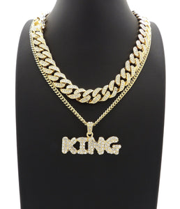 14K Iced Out King Pendant On Miami Cuban