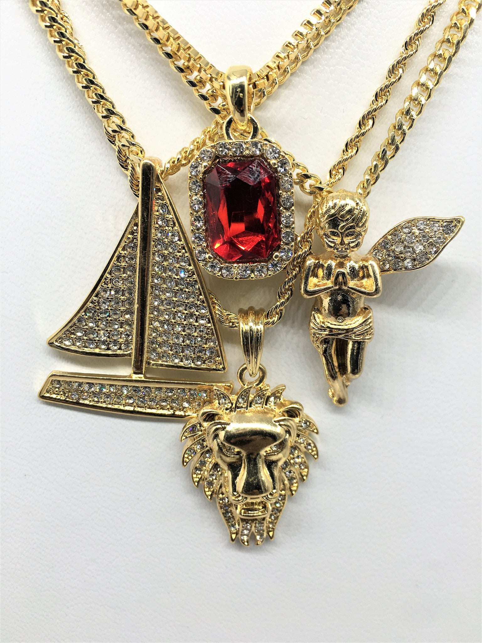 14K Gold Plated Lil Boat 4 Chain Combo Ruby Angel Lion And Lil Boat