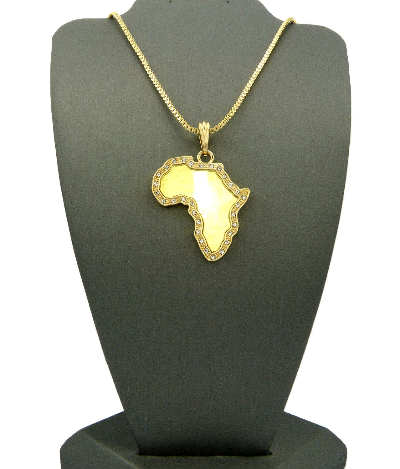 24k Gold Plated Africa Pendant