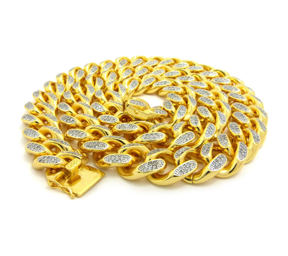 18k Gold Plated Iced Out Miami Cuban  30 inch