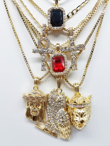 14K Gold Plated 7 Chain Combo: King Leo Iced Out Ruby Iced Out Black Gem Iced Out Cross Iced Out Ankh Iced Out Jesus And Iced Out OvO Owl