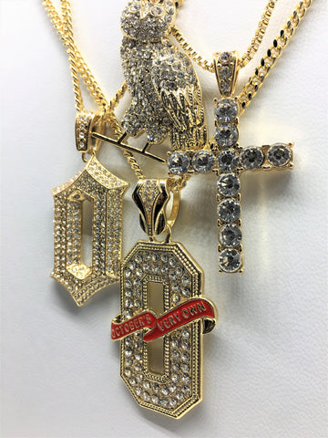 4 Chain 6 God Combo 14K Gold Plated Cross Owl Octobers Very Own And O