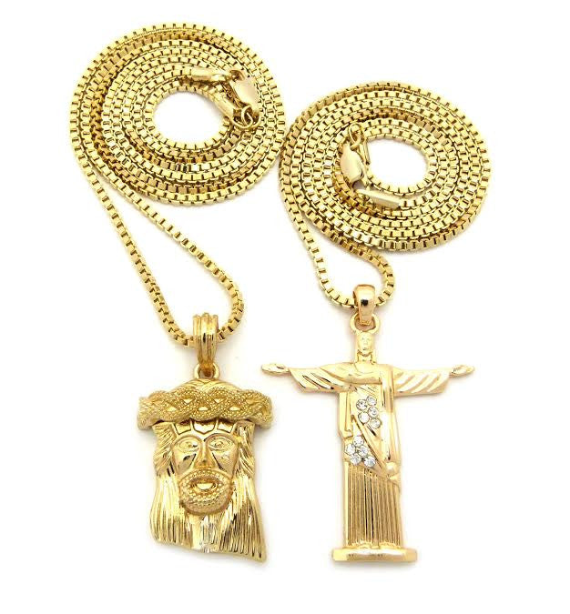 2 Chain Set: Jesus Piece And Standing Jesus On 24 And 30 Inch Box Chain