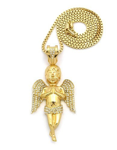 Iced Out Big Angel Praying With Box Chain
