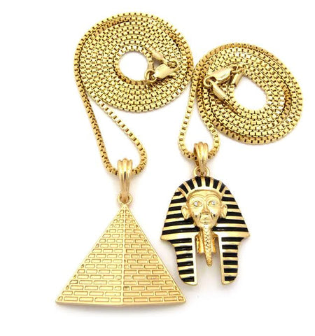 2 Chain Set: Pyramid And Pharaoh On 24 and 30 Inch Box Chain