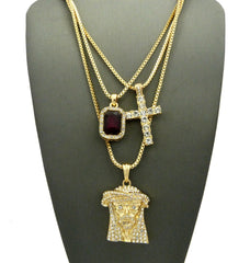 3 Chain Set: Sparkle Eyes Jesus Piece with Iced Out Cross and Royal Red Ruby