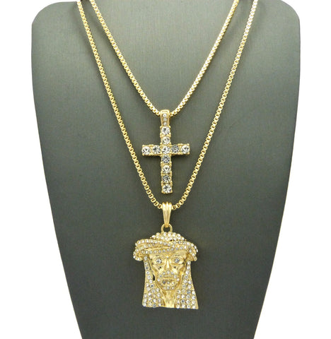 2 Chain Set Sparkle Eye Jesus Piece And Icey Cross on 24 Inch and 30 Inch Box Chains