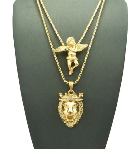 2 Chain Set King Leo and Playing Flute Angel on 24 inch and 30 inch Box Chain