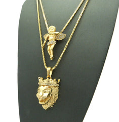 2 Chain set King Leo And Iced Out Angel On 24 inch and 30 Inch Box Chain