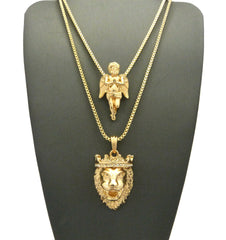 2 Chain Set King Leo and Praying Angel on 24 inch and 30 inch box chain