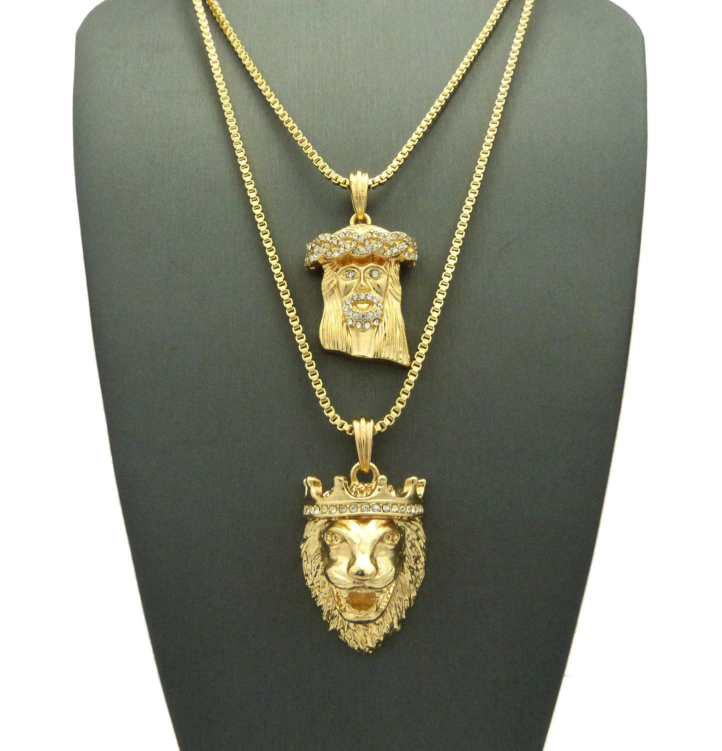 2 Chain Set King Leo and Iced out Jesus piece on 24 inch and 30 inch BoxChain
