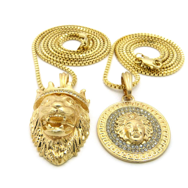 2 Chain Set King Leo and Iced Out Medusa on 24 inch and 30 Inch Box Chain