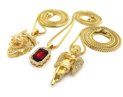 3 Chain Set: Praying Angel King Leo Lion and Red Ruby. On 24inch and two 30inch Box Chains