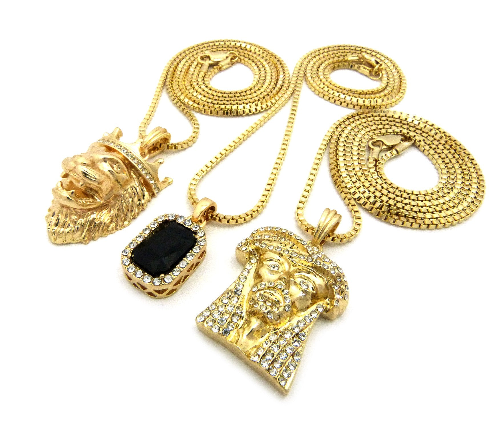 3 Chain Set: Sparkle Eyes Jesus Piece King Leo Lion and Black Gem. On 24inch and two 30inch Box Chains