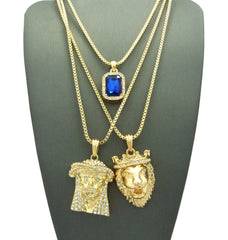 3 Chain Set: Sparkle Eyes Jesus Piece King Leo Lion with Blue Gem. On 24inch and two 30inch Box Chains