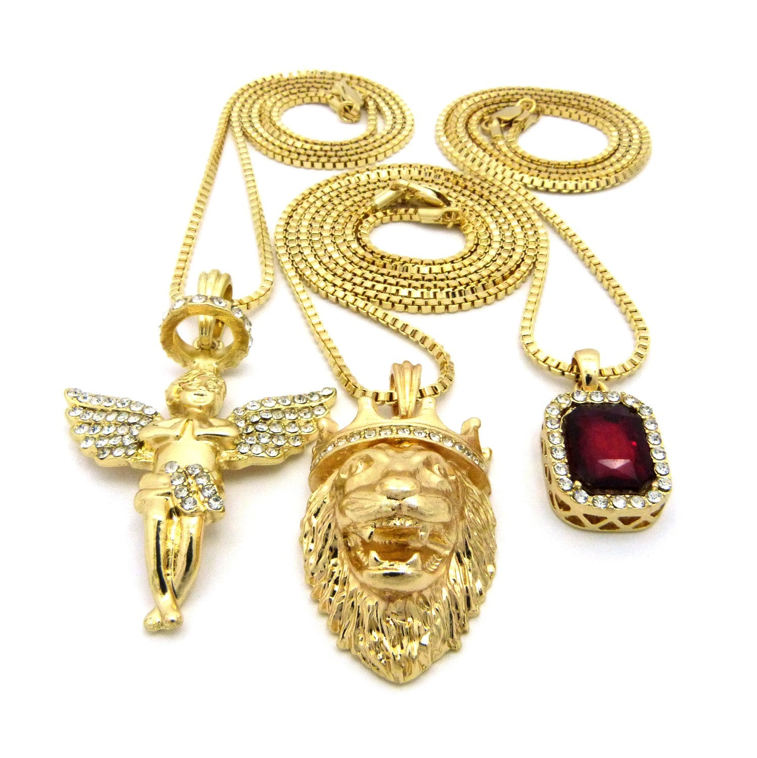 3 Chain Set: Halo Angel with King Leo Lion and Red Ruby. On two 24inch and 30inch Box Chains