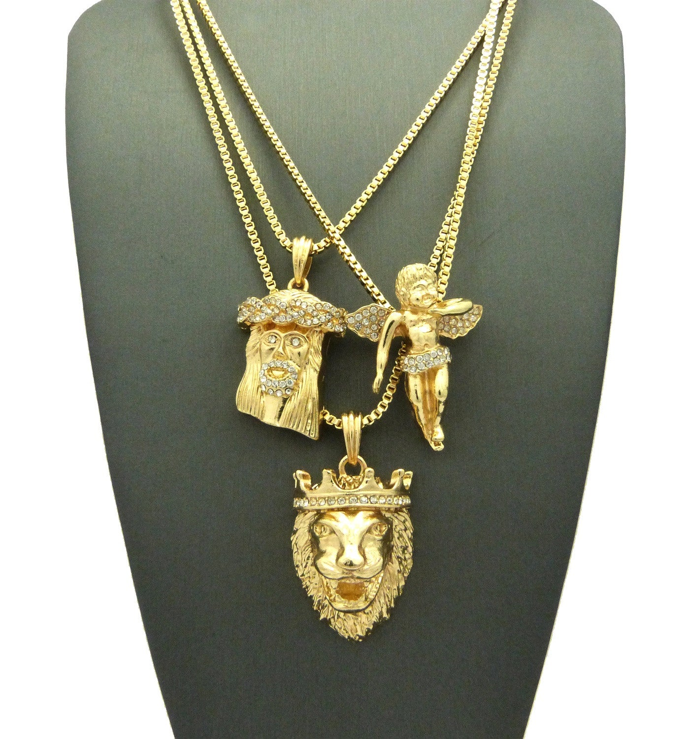3 Chain Set: Iced Out Jesus Piece King Leo Lion and Iced Out Angel. On two 24inch and 30inch Box Chain