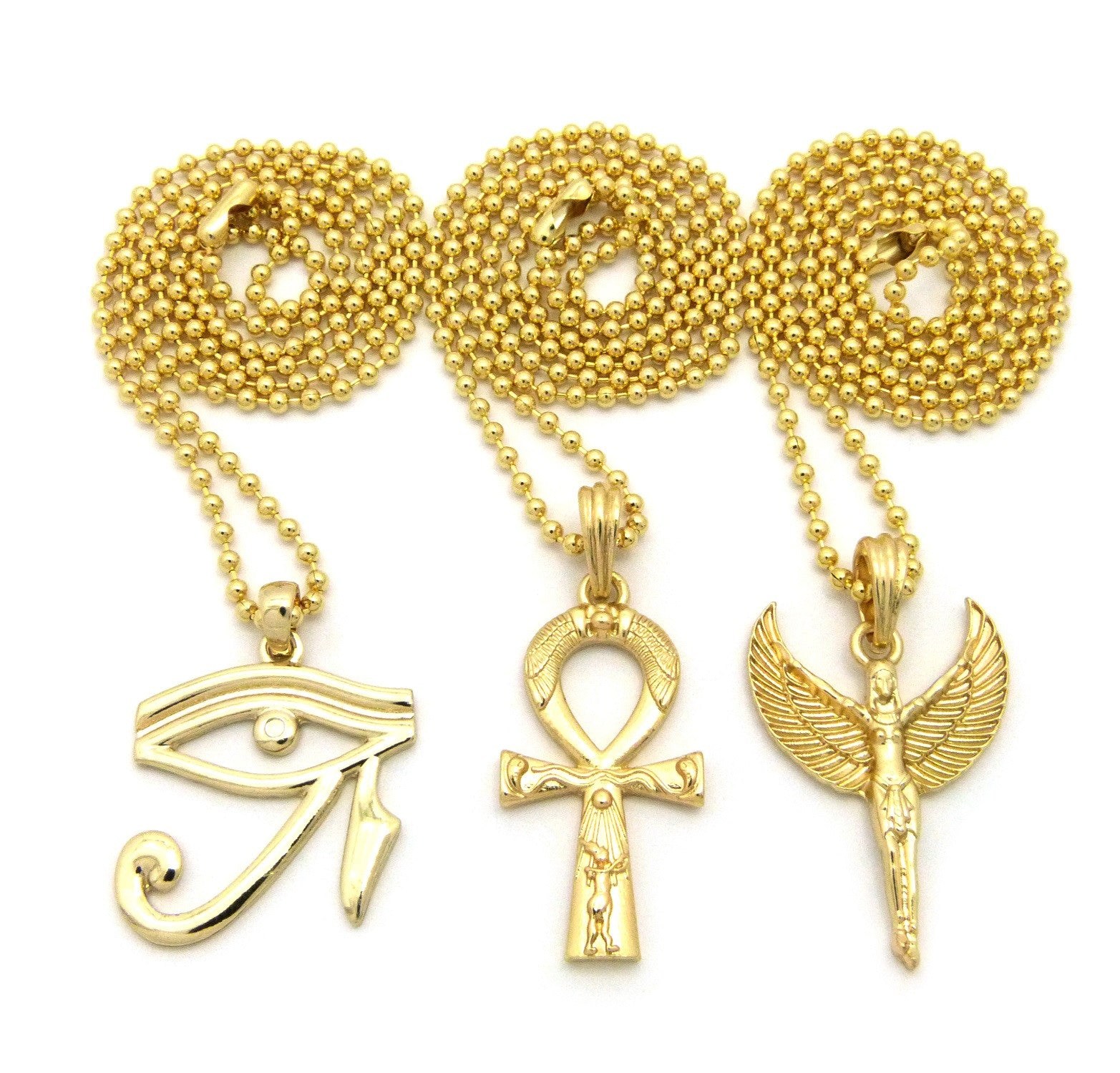 3 Set Chain: Egyptian Eye Ankh Cross and Egyptian God. On 3 24inch Ball Chains