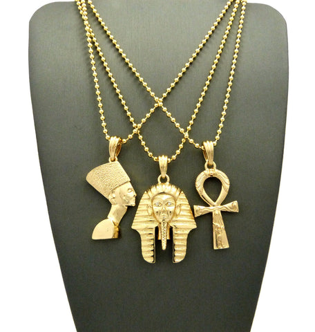 3 Chain Set: Pharaoh and Ankh Cross. On 3 24inch Bead Chains
