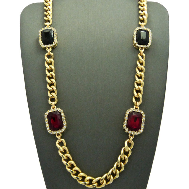 Miami Cuban With Red Ruby and Black Gem 30inch