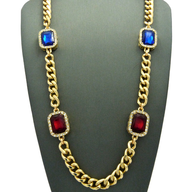 Miami Cuban With  Red Ruby and Blue Gem  30inch