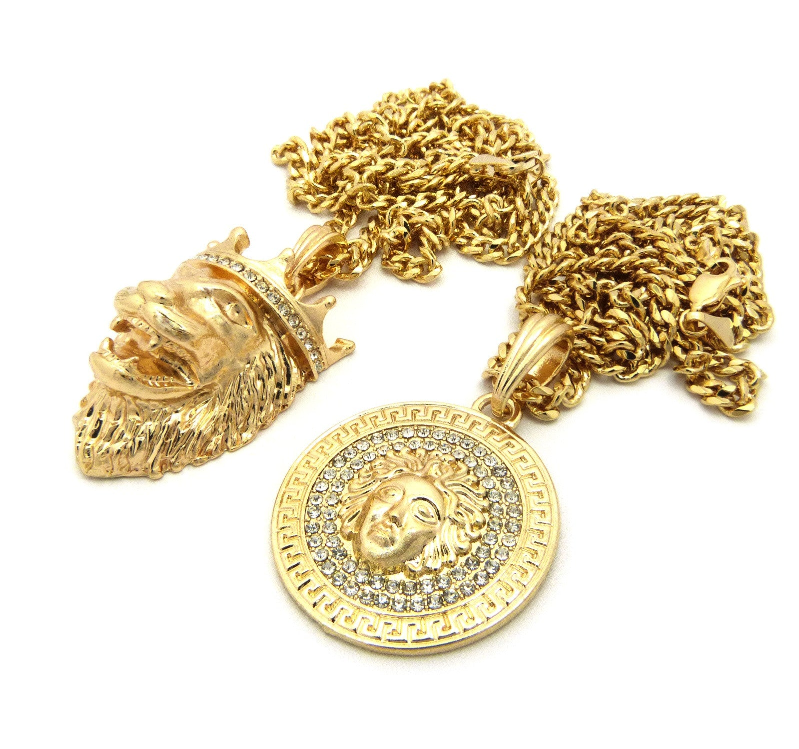 2 Chain Set: Icey Circle Medusa and King Leo Lion On Two 24inch Cuban Link Chains