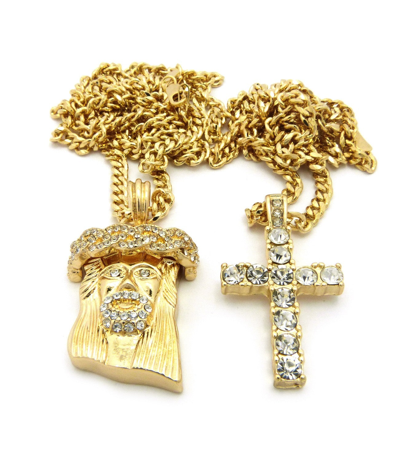 2 Chain Set: Iced Out Cross and Iced Out Jesus Piece On 24inch and 30inch Cuban Link Chains