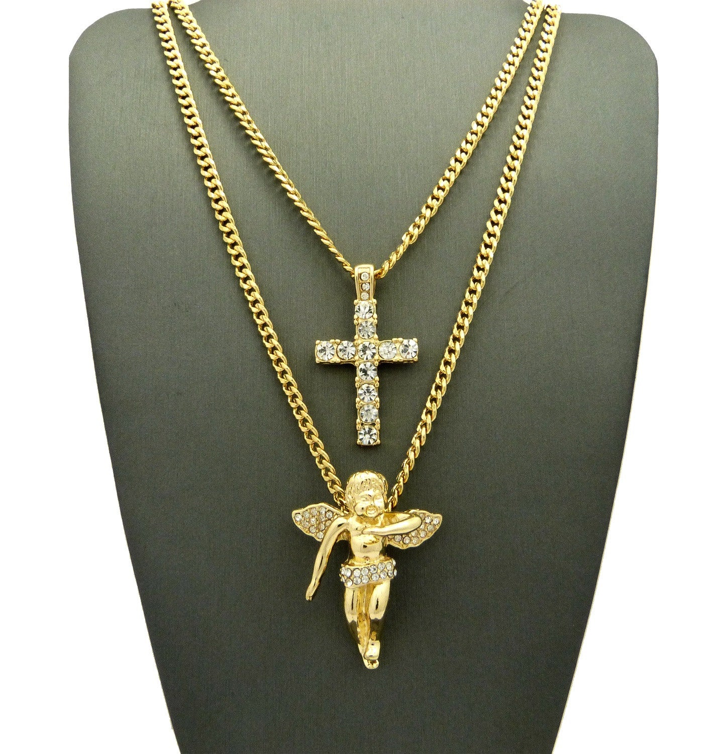 Iced Out Cherub Angel and Iced Out Cross on Cuban Link Chain