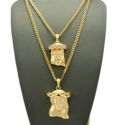 2 Chain Set: Icey Jesus Piece and No Ice Weaved Crown Jesus On 24inch and 30 inch Cuban Link Chains