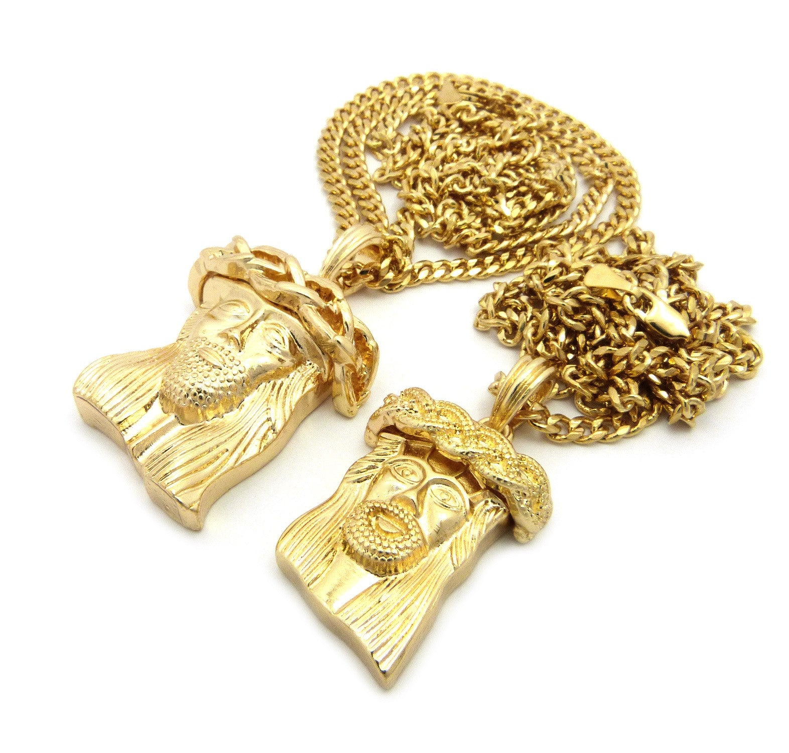 2 Chain Set: Jesus Piece and Weaved Crown Jesus Piece On 24inch and 30inch Cuban Links Chains