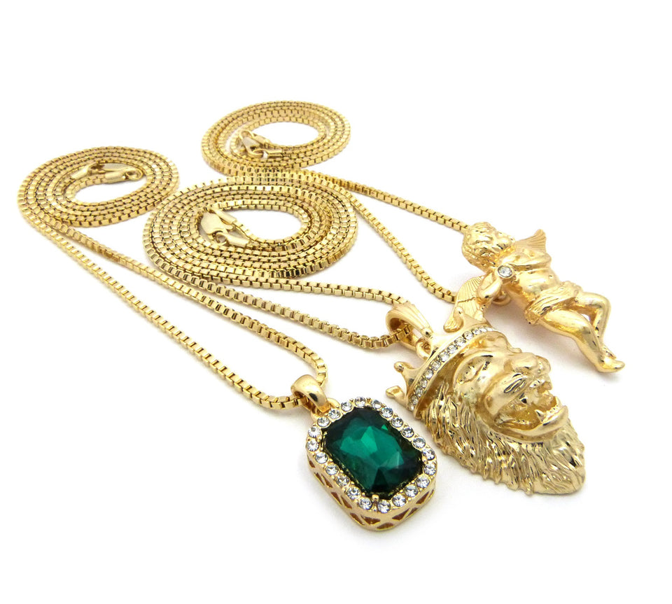 3 Chain Set: Playing Flute Angel with King Leo Lion and Emerald Gemstone