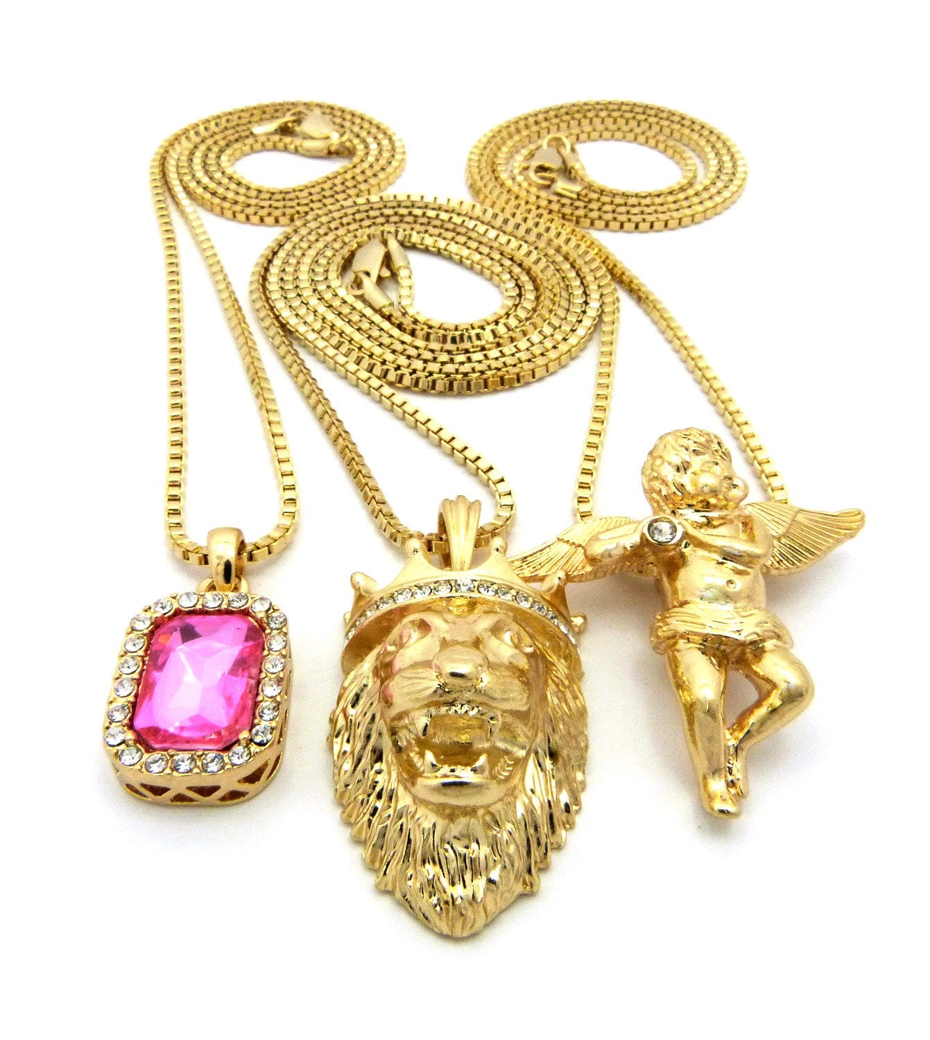3 Chain Set: Playing Flute Angel with King Leo Lion and Pink Gemstone
